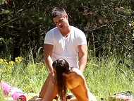 Before eating mellow watermelon teenage couple has quick sexual act on the lawn 11