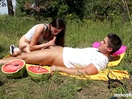 Before eating mellow watermelon teenage couple has quick sexual act on the lawn 6