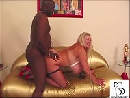 Black mate tries his best to satisfy this super hot MILF blonde with fantastically big jugs 5
