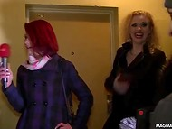 Redhead host and two temptresses walk in the German streets and look for guys to give BJ 11