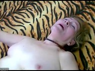 Old female sucks young dude's penis and lets him prepare her twat with dildo for upcoming penetration 5