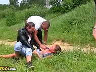 While walking in the forest, three insolent guys met tanned girl and fucked her brutally 6