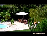 Two young dudes and old man were banging whorish lady in pergola by the summer pool 4