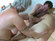 Lustful old woman eats some chocolate sweets and joins mature couple's sexual games 10