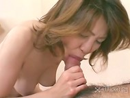 Modern vibrator caressed Asian MILF's hairy pussy by itself but hard boner was still better 7