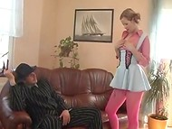 Petite European cutie got assfucked in doggystyle and facialized by bad gentleman 11
