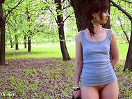 Kinky Jeny Smith is showing her shaved twat while walking through green park 10
