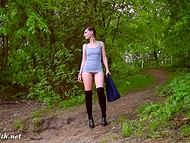 Kinky Jeny Smith is showing her shaved twat while walking through green park 5