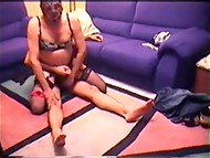 Bisexual homemade scene featuring adult madam, fucker, and man in female clothing 8