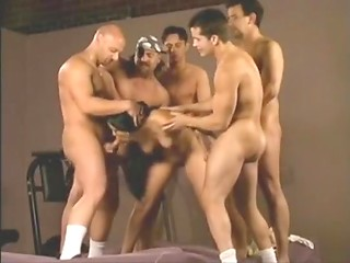 Group insemination video with long-haired Latina fucked and creampied by five men