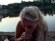 Dude with camera and Czech perverted girl fuck and pee on each other by the lake 4