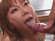 Guys caught Japanese Minami Kitagawa masturbating in the bathroom and offered her to suck their rods