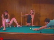 Guy and blonde try to pocket ball in girlfriend's twat after she had spread legs on the pool table