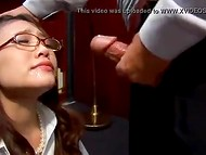 Japanese secretary should get down on the knees and open mouth after boss demanded her to give him blowjob 6