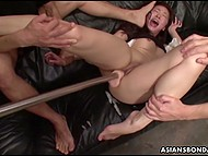 Men brought Japanese girl a lot of thrills then severely nailed on the black mattress 4