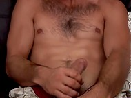 Hairy man took clothes off and used right hand to make his little friend cum 3