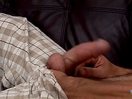Hairy man took clothes off and used right hand to make his little friend cum 5