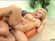 Pumped muscles of hairless man allow him non-stop move his ramrod inside blonde girl's pussy 9
