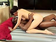 White masseuse gave black client's massive schlong a massage with natty ginch