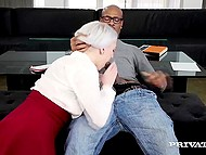 White-haired girl learned some new dirty words before tempter fucked her tight caves 4
