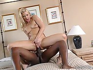 Cock like this giant black one had never entered white-haired slut's holes before 7