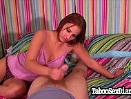 Tootsie is giving a handjob for chief just to make him pleased with her work