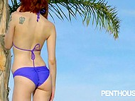 Red-haired model Bree Daniels poses inside house and outdoors with splendid scenery in the background 4