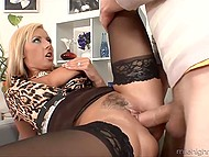 Four-eyed dude couldn't even imagine that one day he will fuck big-boobied blonde sexpot 7