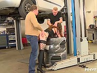 Lustful German whore brings car to repair and has group sex with mechanics as prepayment for services 4