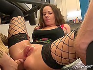 Lustful German whore brings car to repair and has group sex with mechanics as prepayment for services 8