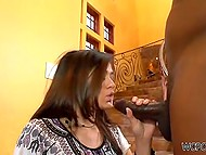 Big black man just crossed the threshold and playful minx started to suck his huge weapon 7