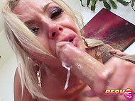 Man appreciated curvy shapes of blonde sexpot but she deserved genuine admiration by presenting blowjob 9