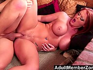 Vicious redhead with big boobers and juicy butt lifts it up to let chaser penetrate pussy from behind