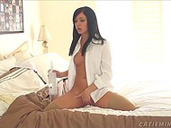 Dark-haired babe Catie Minx emptied bottle of alcohol and put the bottleneck in warm pussy 6