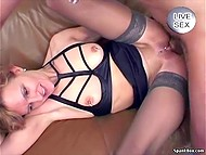 Only blowjob and assfucking can make old slut with pierced nipples and pussy really happy 5