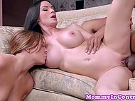 Stepmother and stepdaughter wished to find out who is better blowjob master and used policeman's dick 4