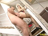 Hot to trot MILF with big breasts got fucked by hard phallus somewhere between the first and second floors 7