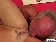 Nimble blonde understands that old man couldn't satisfy her and takes the matter into her own hands 7