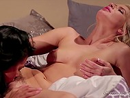 Asian dame not only inspected juicy goodies of young girlfriend but also tasted them with pleasure