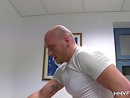 Bald masseur's task consisted of making client squirt and fucking her thoroughly 9