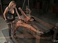 Merciless mistress deepthroated tied prisoner with strapon before impaled her tight asshole 6