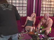 Young chicks invited muscular stripper as a gift for best girlfriend in the German video 11