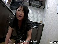 Asian lass and dude with camera got tired of fucking in the toilet and went to the kitchen 5