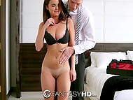 Gentleman caught cute chambermaid Dillion Harper masturbating and didn't let her go until they copulated 5