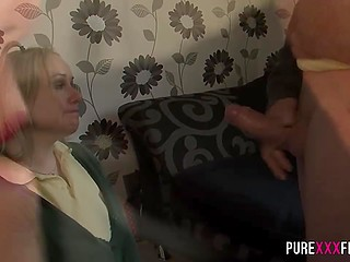 Strict stepfather kicked young fucker out of curvy stepdaughter's bed to own her pussy by himself