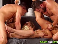 Business partners organized a meeting with their ladies and soon it turned into swinger foursome 10