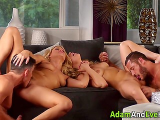 Business partners organized a meeting with their ladies and soon it turned into swinger foursome