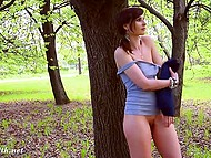 Young angel Jeny Smith walks in the fresh air and flashes clean-shaven sissy 11