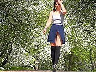 Young angel Jeny Smith walks in the fresh air and flashes clean-shaven sissy 4