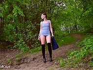Young angel Jeny Smith walks in the fresh air and flashes clean-shaven sissy 5